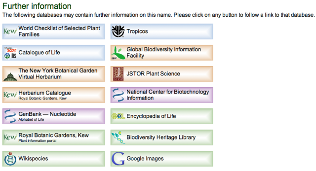 Links to More Information at The Plant List